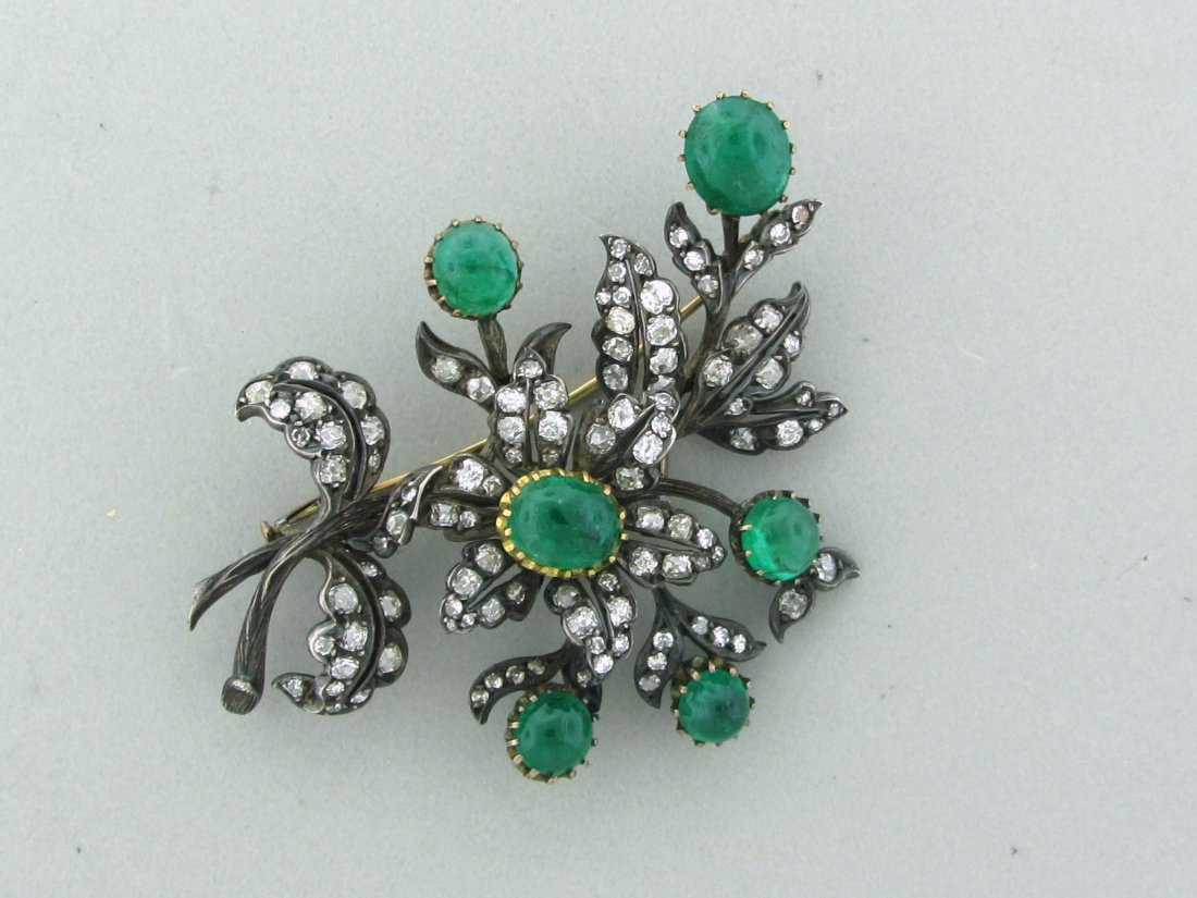 024: Antique 1860s Old Mine Cut Diamond Emerald Brooch