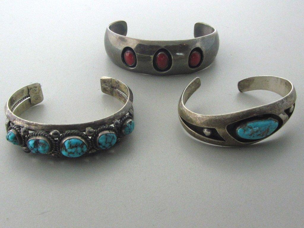 001:Native American Sterling Gemstone Bracelet Lot of 3