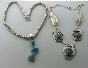 004:Native American Sterling Gemstone Necklace Lot of 2
