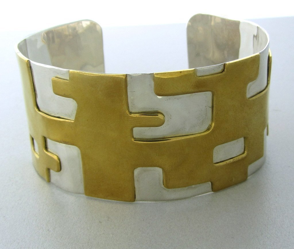 009: Robert Lee Morris Sterling Brass Cuff Bracelet