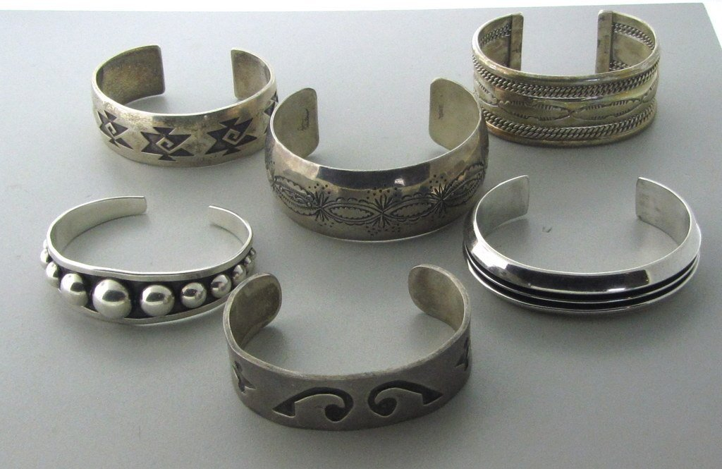 010: Native American Sterling Bracelet Lot of 6