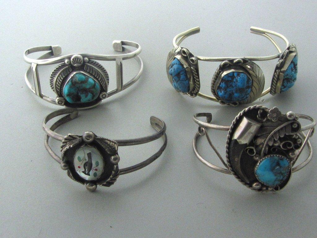 011: Native American Sterling Gemstone Bracelet Lot 4