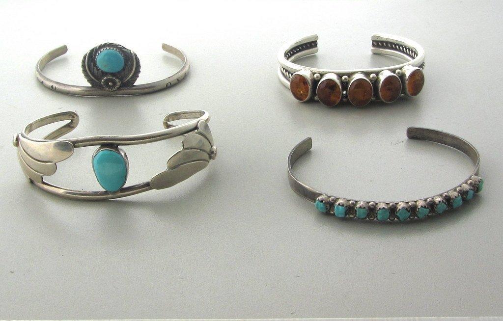 012: Native American Sterling Gemstone Bracelet Lot  4