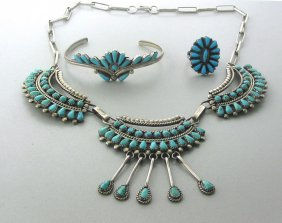 013: Native American Sterling Turquose Jewelry Lot