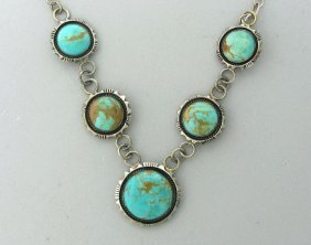017: Native American Navajo Sterling Turquoise Necklace