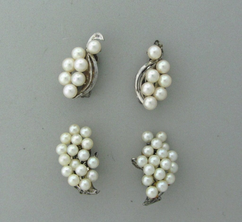 018: Sterling Cultured Pearl Earrings Lot of 2