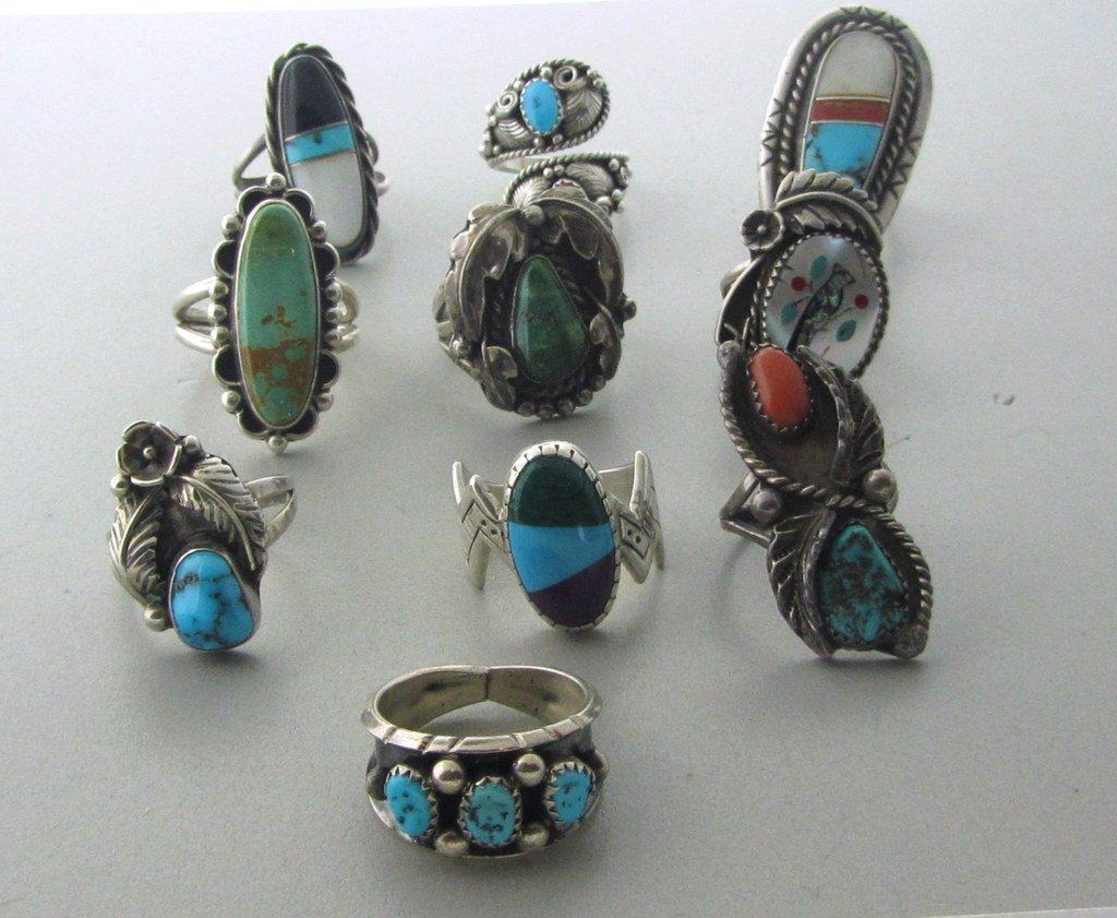 021: Native American Sterling Gemstone Ring Lot of 10