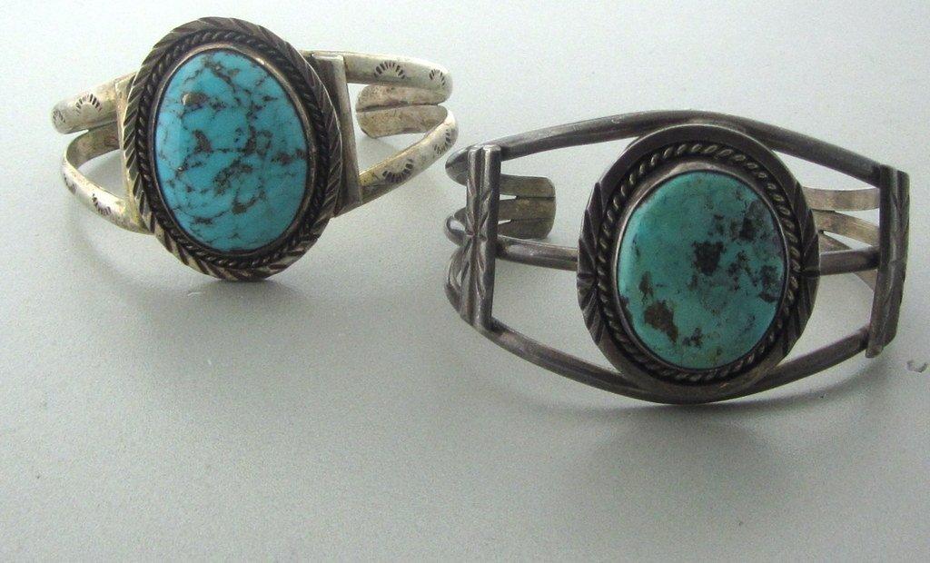 024:Native American Sterling Turquoise Bracelet Lot 2
