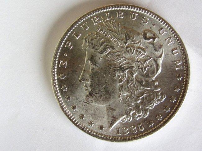 2: U.S. 1885 Morgan Dollar $1 Silver Coin