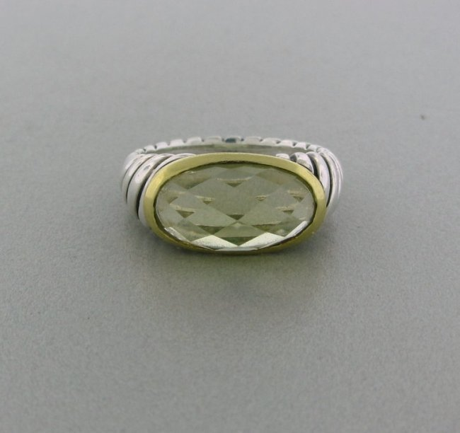4: David Yurman Sterling Silver 18k Gold Citrine Ring