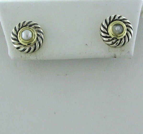 5: David Yurman Silver 14k Gold Pearl Cookie Earrings