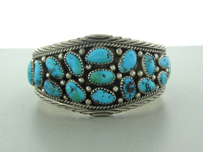 6: Native American Sterling Turquoise Cuff Bracelet