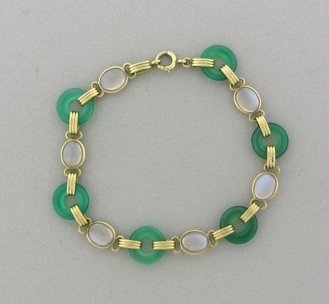 13: Art Deco 14k Gold Chrysoprase Moonstone Bracelet