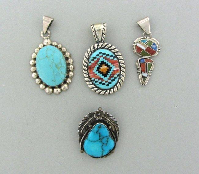14: Native American Mexican Silver Gemstone Pendant Lot