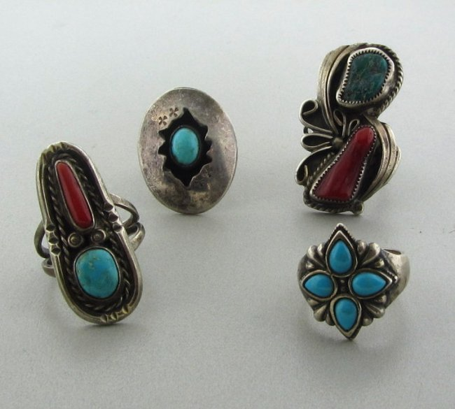 17: Estate Sterling Turquoise Coral Ring Lot