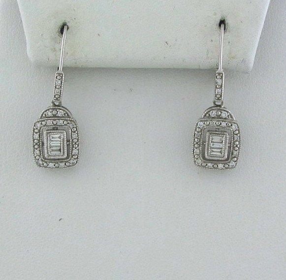 19: Estate 14k White Gold Diamond Drop Earrings