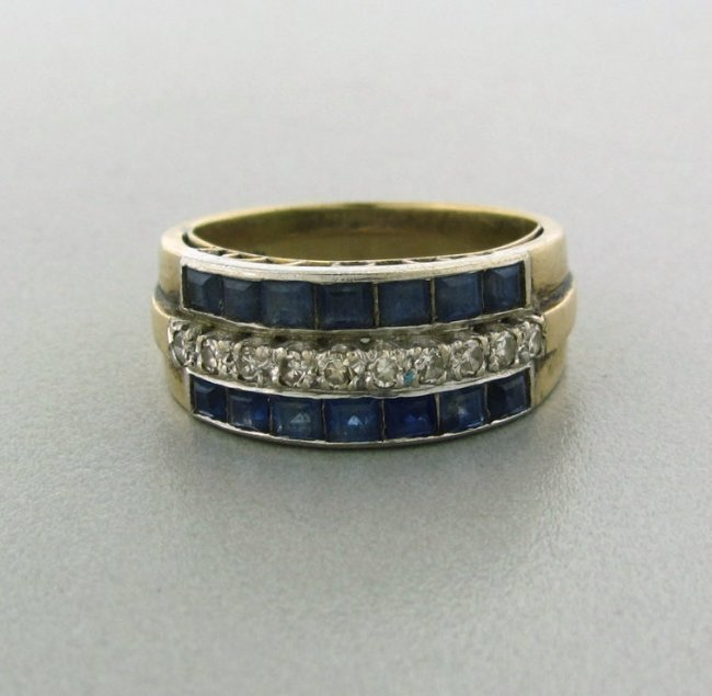 22: Estate 14k Gold Diamond Sapphire Ring