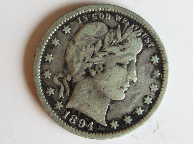 24: 1894 BARBER QUARTER US SILVER COIN