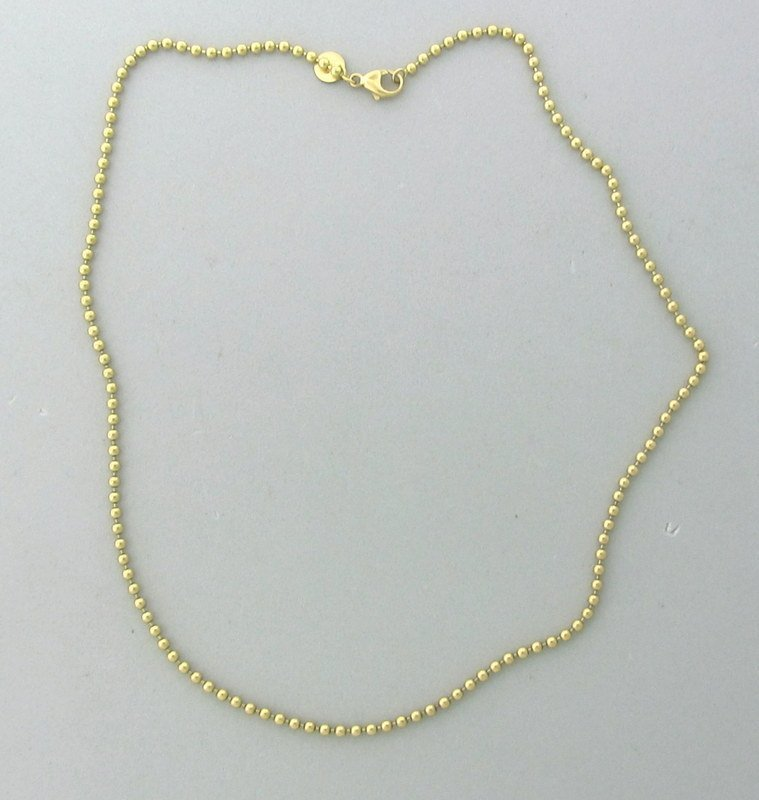 Tiffany & Co 18k Gold Beaded Chain Necklace