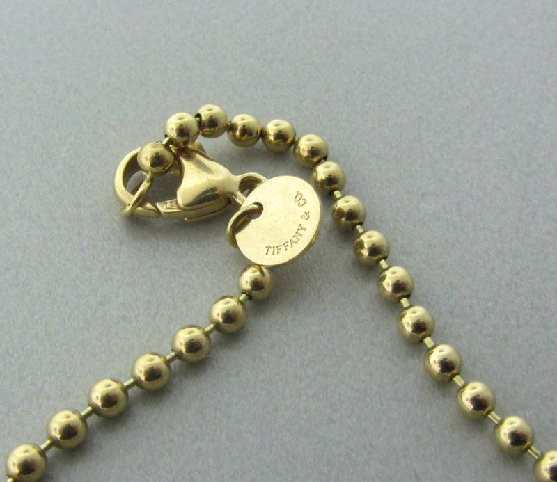 Tiffany & Co 18k Gold Beaded Chain Necklace - 4