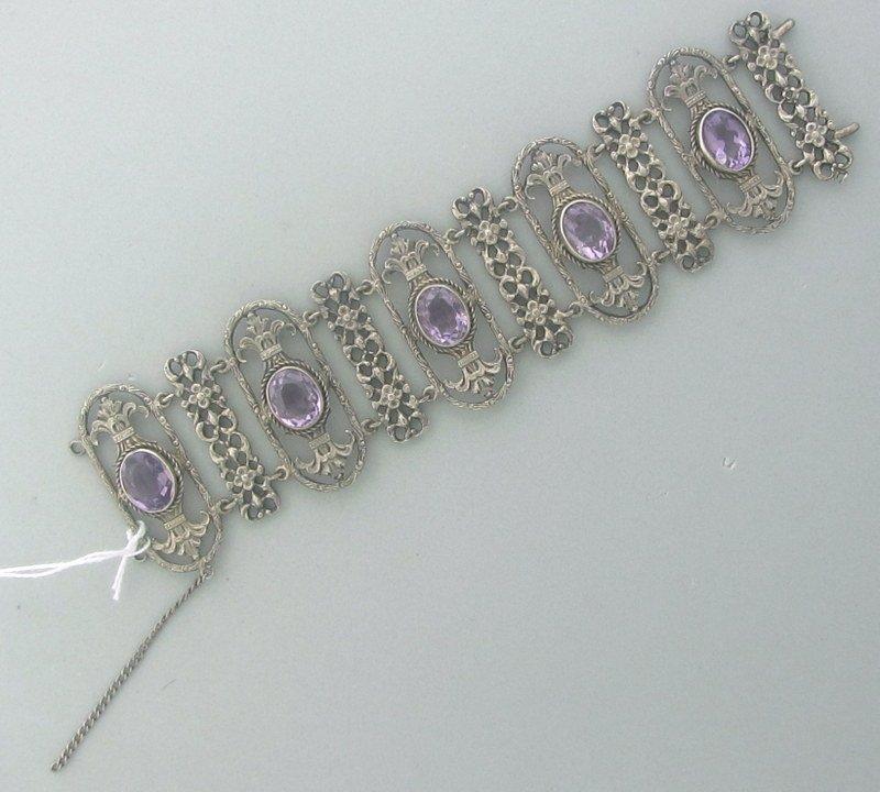 Vintage Peruzzi Sterling Pink Stone Bracelet