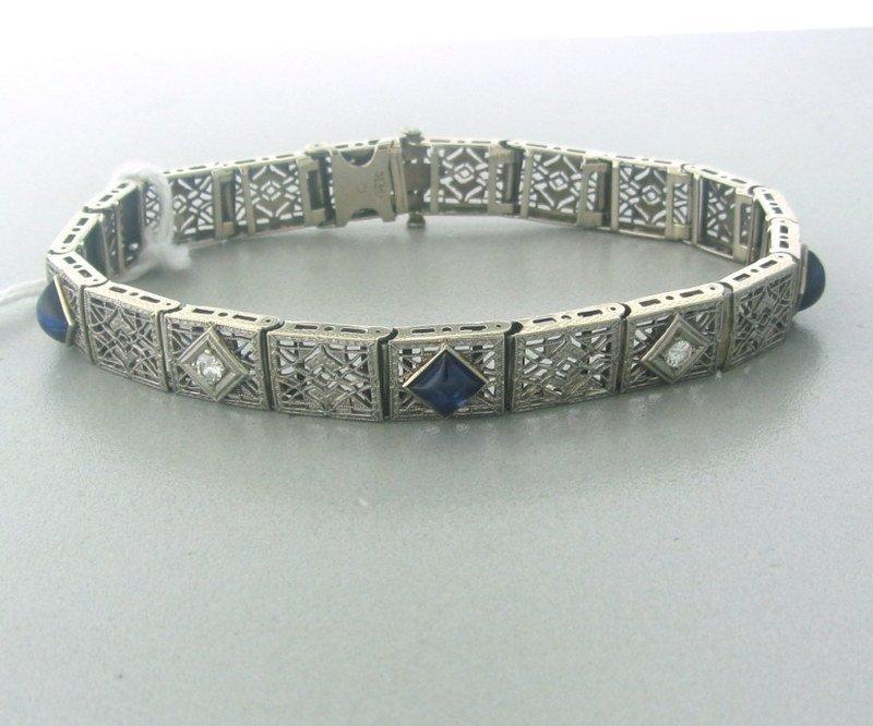 Art Deco Filigree 14k Diamond Sapphire Bracelet