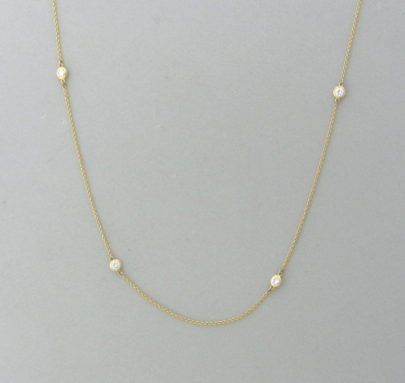 Tiffany & Co Peretti 18K Diamond By The Yard Necklace