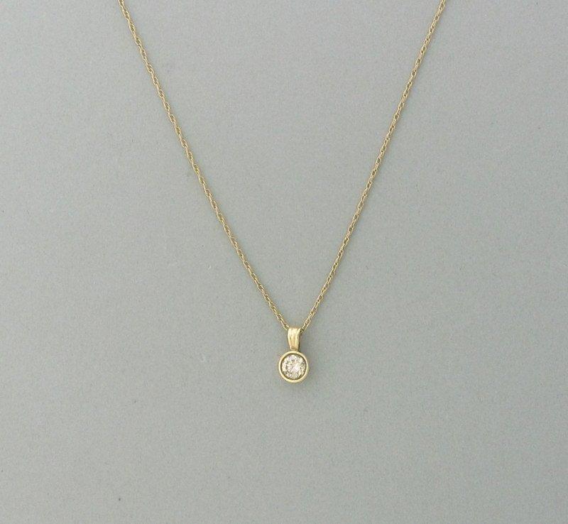 14k Gold Diamond 0.35ct. Solitaire Pendant