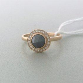 Estate 14k Rose Gold Black Diamond Ring