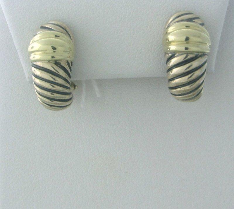 David Yurman Silver 14k Twisted Hoop Earrings