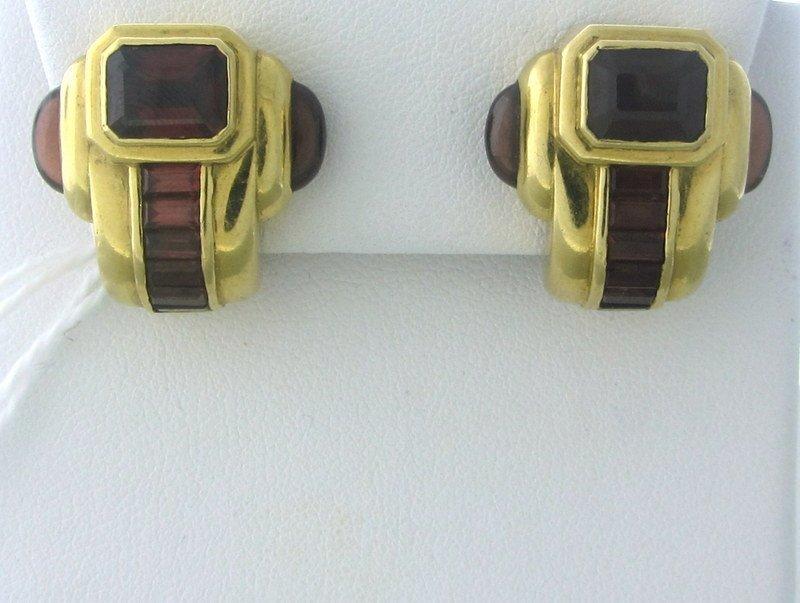 Estate 18k Gold Rhodolite Garnet Earrings