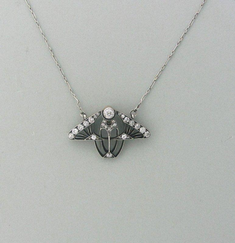 Art Nouveau Silver Gold Old Mine Diamond Pendant