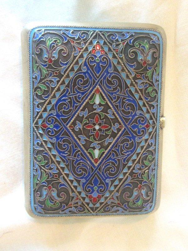 Antique Grachev Russian Silver Enamel Cigarette Case