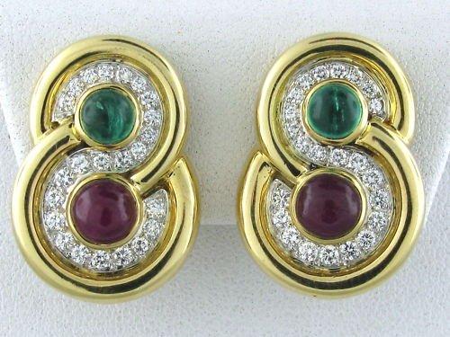 DAVID WEBB 18K PLATINUM EMERALD RUBY DIAMOND EARRINGS