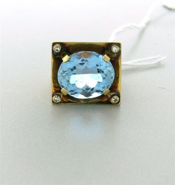 Estate 14k Gold 16.00ct Blue Topaz Diamond Ring