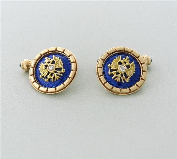 Russian 14k Gold Diamond Enamel Sapphire Cufflinks