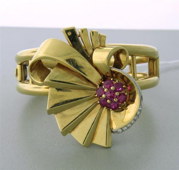 Retro Platinum 14k Flower Diamond Red Stone Bracelet