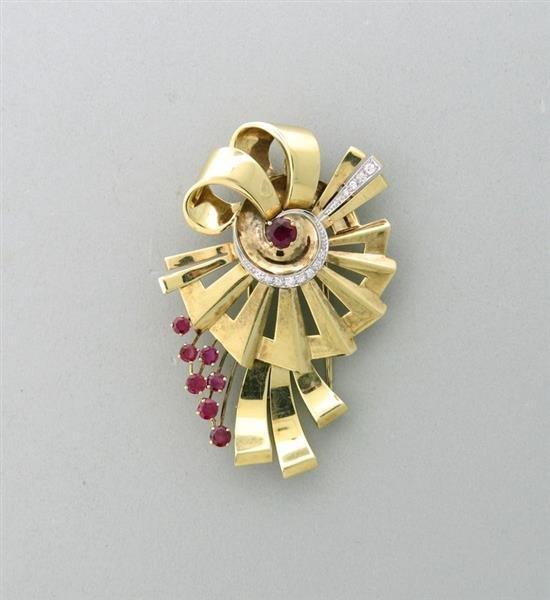 Retro Platinum 14k Gold Flower Diamond Red Stone Brooch