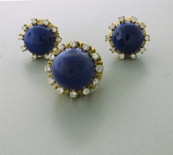 1960s  14k Gold Lapis Diamond Ring Earring Set