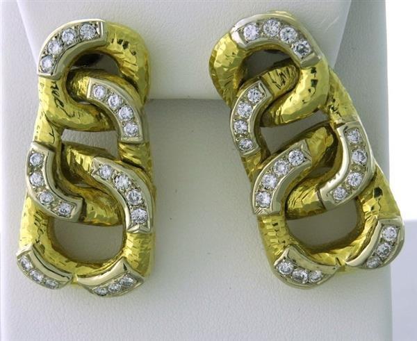 Vintage 1960s 18k Gold Triple Circle Drop Earrings
