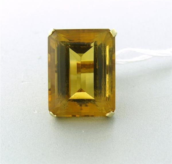 Circa 1945 Large 14k Gold  48ct Citrine Ring