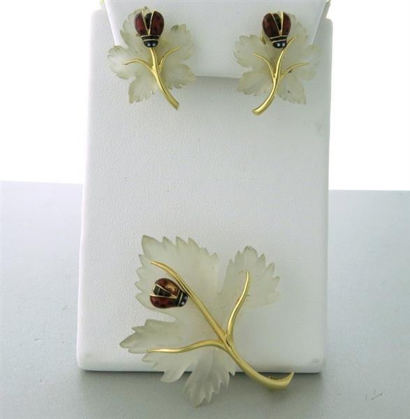14k Crystal Leaf Enamel Ladybug Brooch Earrings