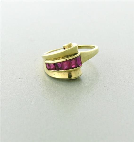 Retro 1940s 14k Red Stone Ring