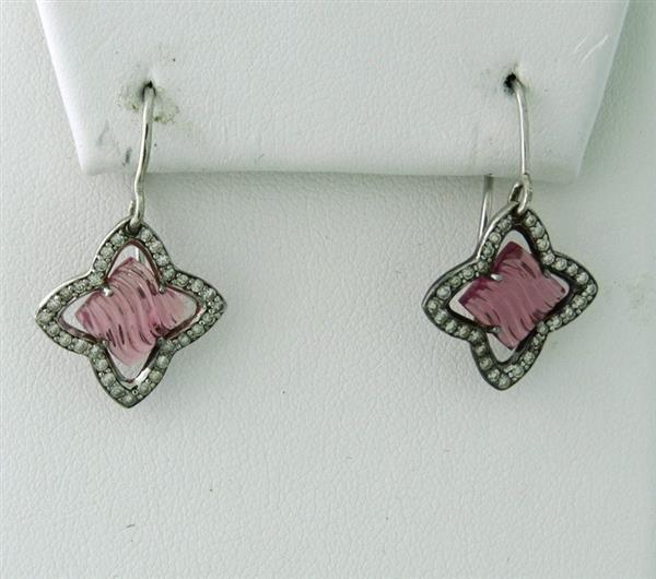David Yurman Sterling Diamond Pink Tourmaline Earrings