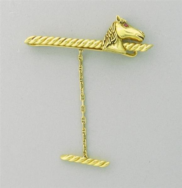Estate David  Webb 18k Gold Ruby Horse Tie Bar