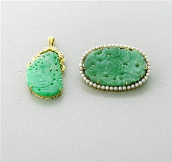 Vintage Two 14k Gold Jade Pearl Diamond  Brooch Pendant