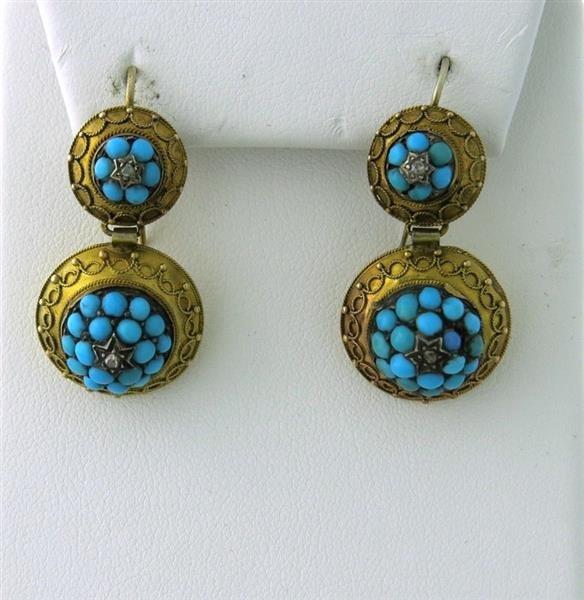 Antique Victorian 14k Turquoise Diamond Drop Earrings