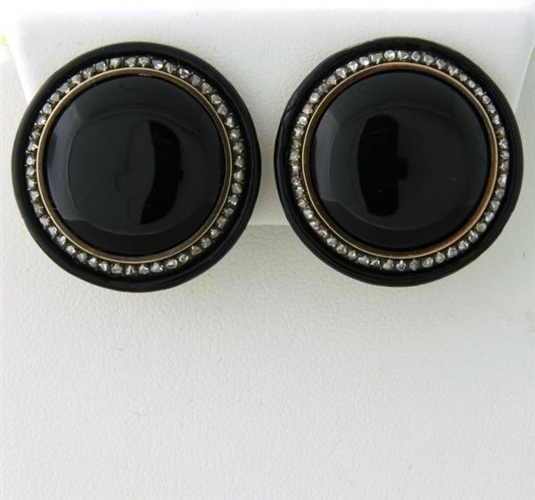 Antique 18k Rose Cut Diamond Onyx Earrings