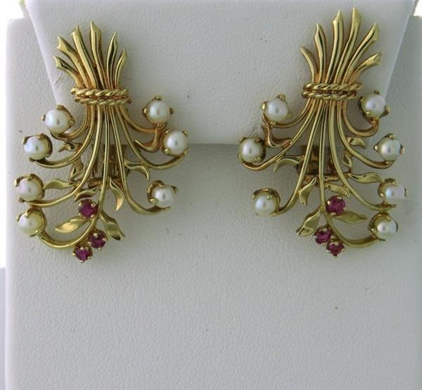Retro 1940s 14k Gold Pearl Ruby  Earrings