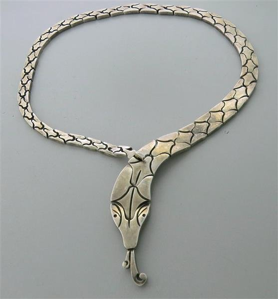Salvador J Garcia Taxco Mexican Sterling Snake Necklace - 2
